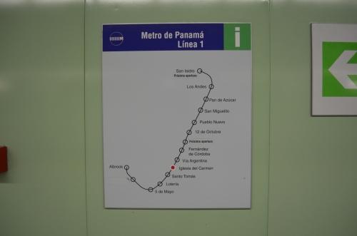 パナマシティの地下鉄の路線図
