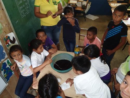 廃油石鹸を作る小学生