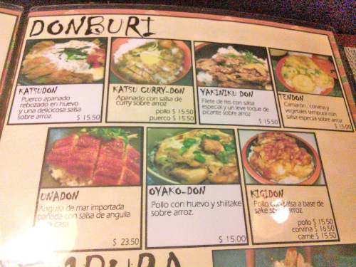 中南米の和食レストランの丼メニュー