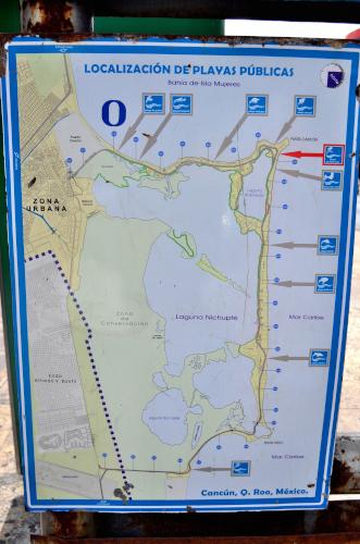 カンクンのパブリックビーチの地図