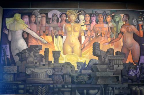 メキシコ国立人類学博物館の展示物妊娠の壁画