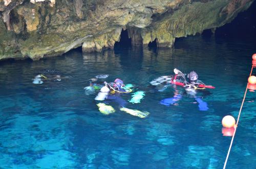 グランセノーテに潜るダイバー