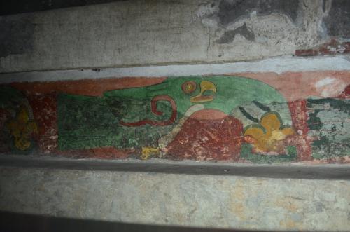 ジャガーの宮殿の内部の壁画
