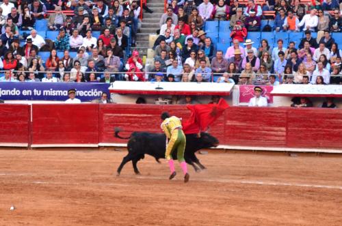 牛をかわしながら、剣を刺す闘牛士