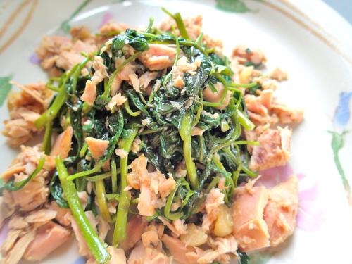 沖縄風空心菜のシーチキン炒め