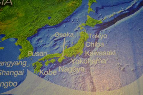 パナマ運河に展示されている日本地図