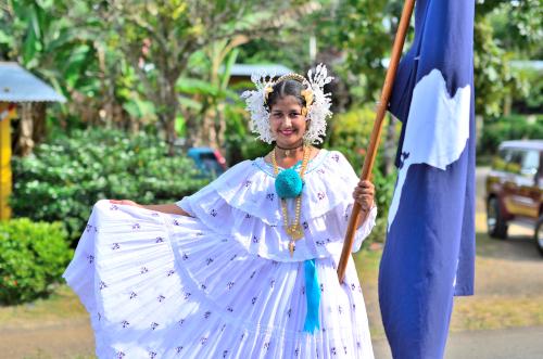 ベラグアスの旗を持つ美女