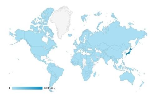ブログを訪問している人の国183ヶ国