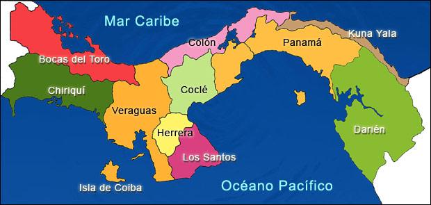 パナマの地図カラー