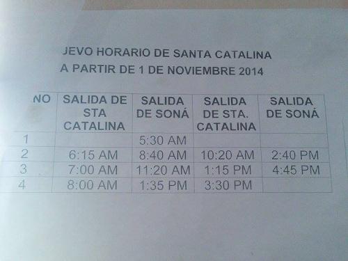 ソナとサンタカタリーナのバス時刻表
