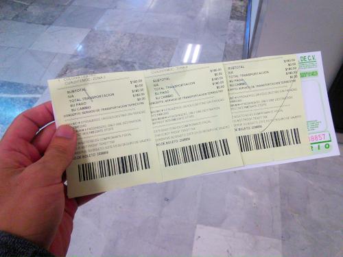メキシコシティの空港専門タクシーのチケット