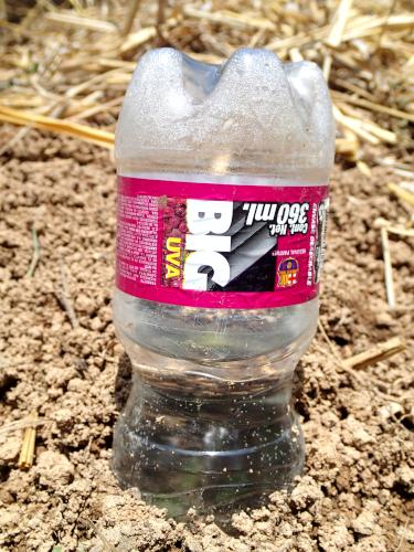 ペットボトルから水が減っていく様子