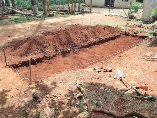 完成した学校菜園の畝
