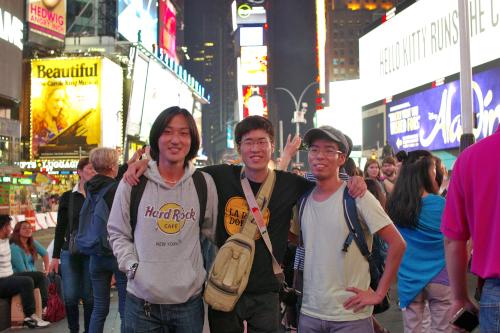 ニューヨークで記念撮影