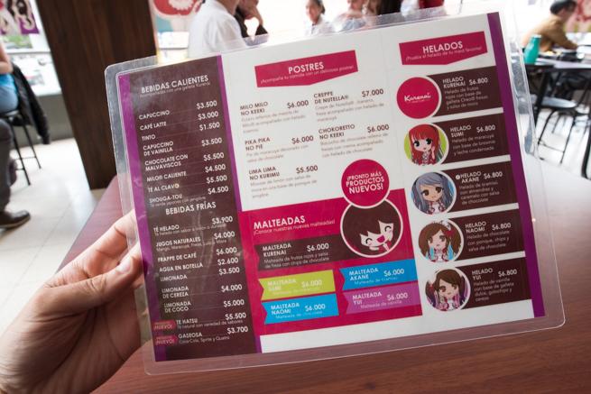 南米コロンビアのボゴタのメイドカフェのメニュー