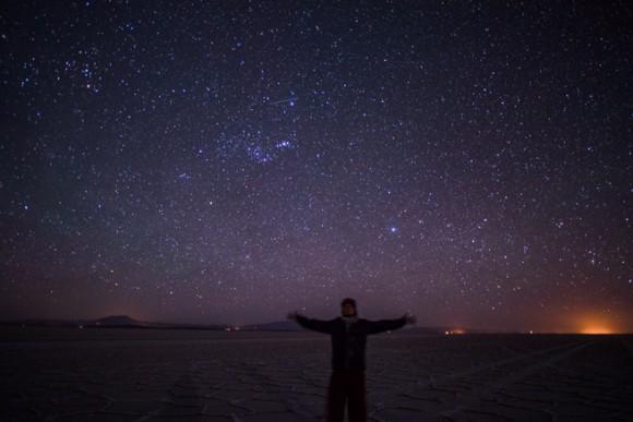 ウユニ塩湖の星空の下
