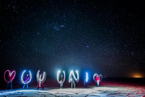 ウユニ塩湖でペンライト