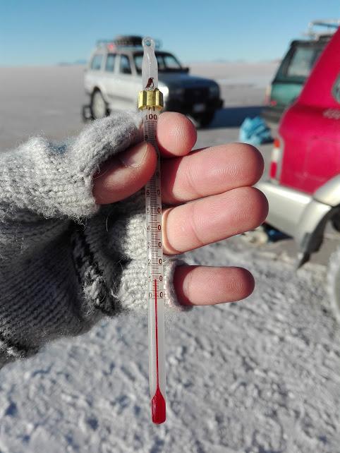 ウユニ塩湖の最低気温は9度
