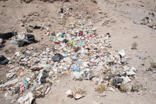 列車の墓場付近のゴミ