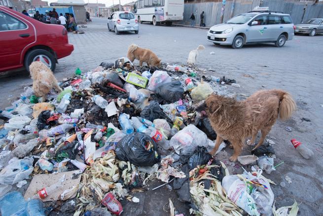 ウユニ市のゴミ捨て場
