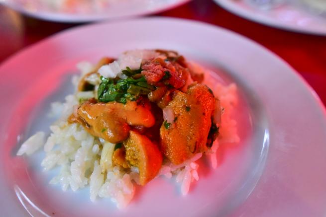 サンチアゴの魚市場で食べられるうに丼