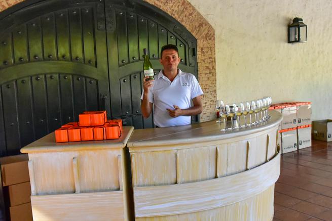 白ワインを説明するガイド