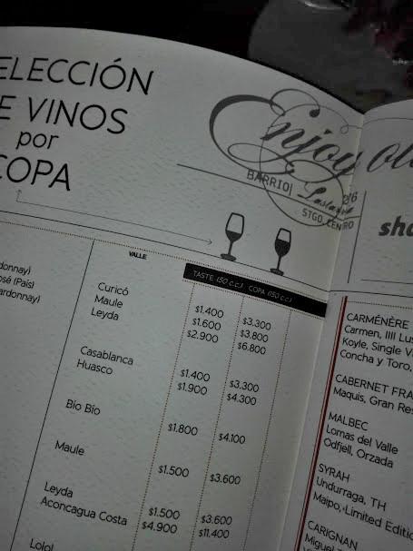 サンチアゴのワインバーBocanárizのメニュー