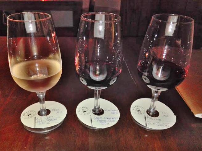 3種類のチリワインの飲み比べ