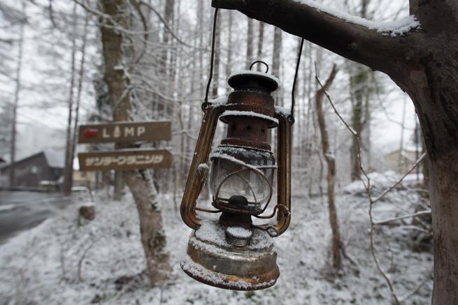 雪が積もったランプ