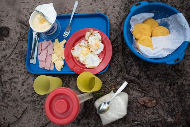 テーブルマウンテントレッキングの朝ご飯