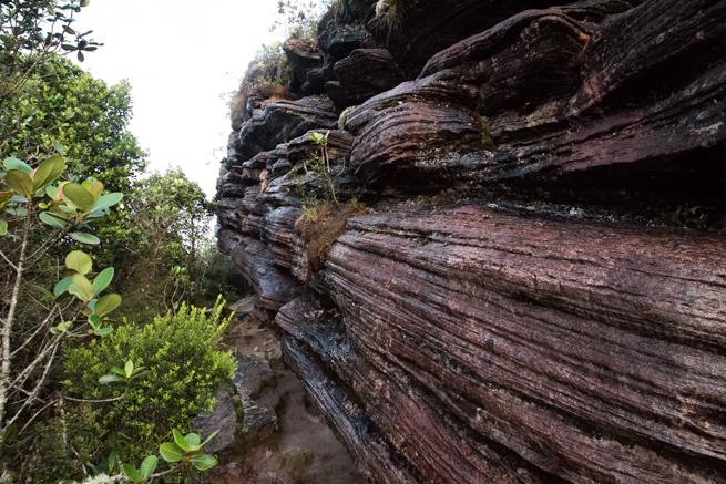 アウヤンテプイの頂上付近の巨石