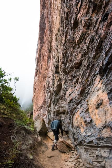 アウヤンテプイの頂上付近の断崖絶壁を進む