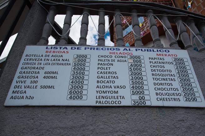 頂上の食べ物価格