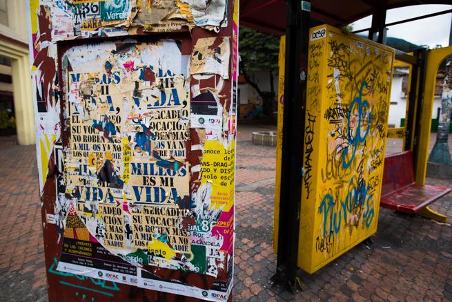 コロンビアの首都ボゴタの落書き