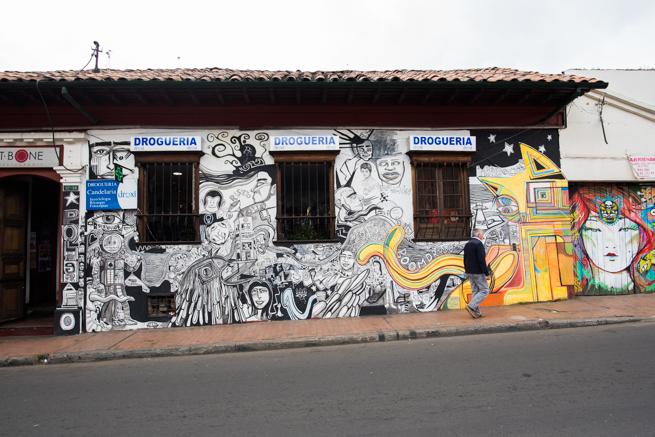 コロンビアの首都ボゴタのアートな落書き