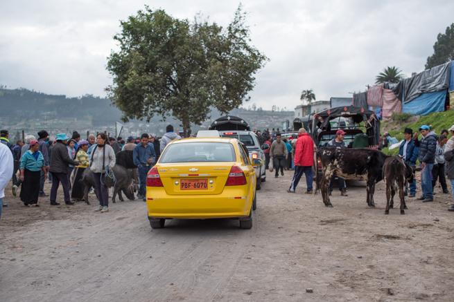 エクアドルのオタバロの家畜市場に入るタクシー