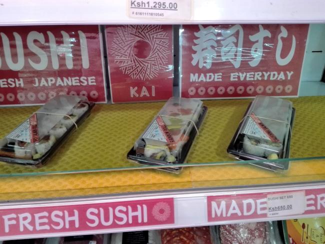ナイロビのスーパーで販売されている寿司