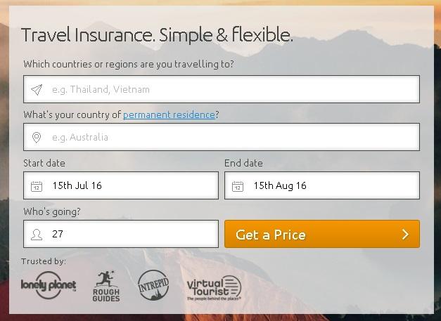 World Nomadsの保険期間を入力