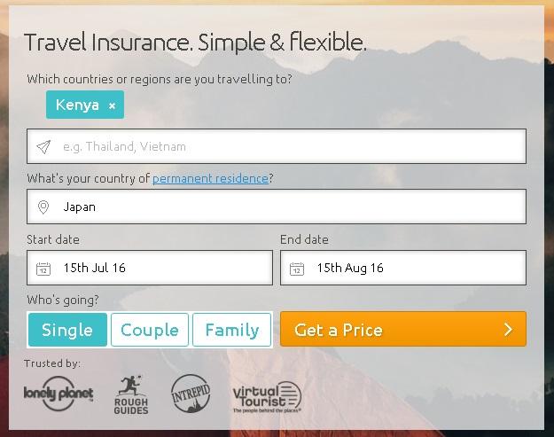 World Nomadsで保険人数を選択