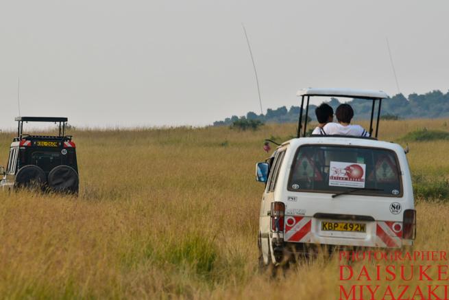 マサイマラ国立公園を走るバン
