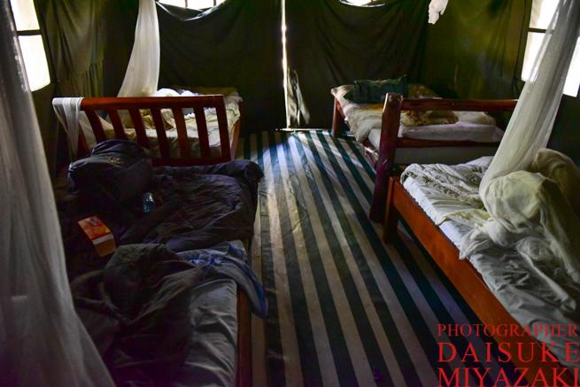 常設テントのベッドルーム