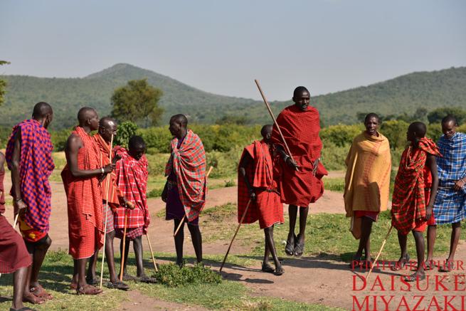 マサイ族の男性のジャンプ儀式