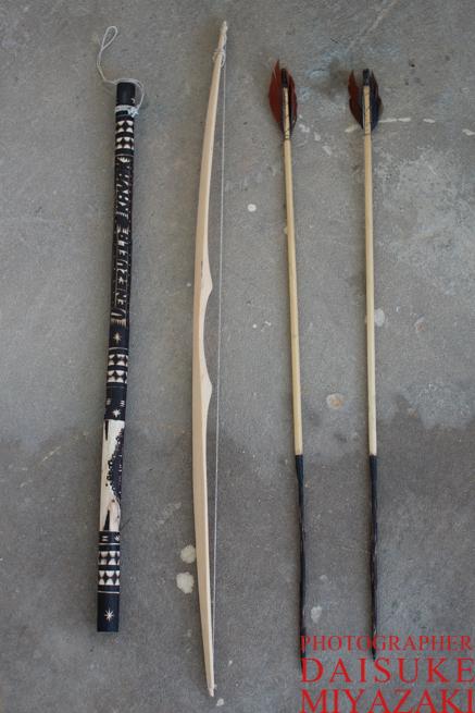 ペモン族の弓矢とレインスティック