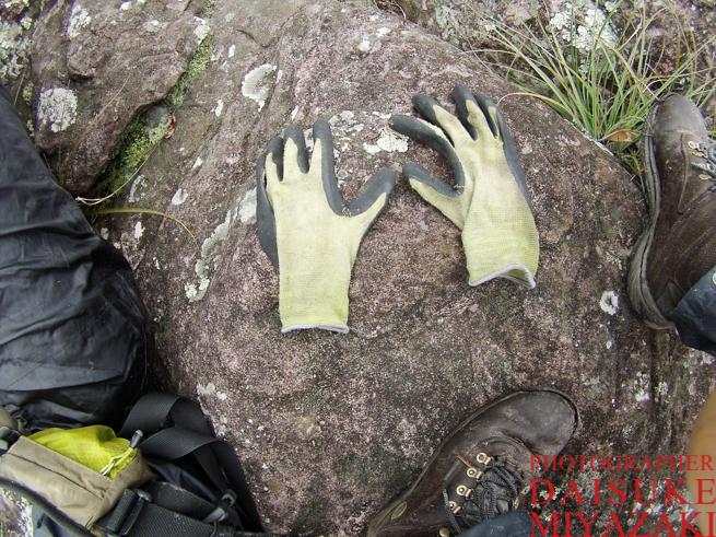 トレッキングで使ったゴム手袋