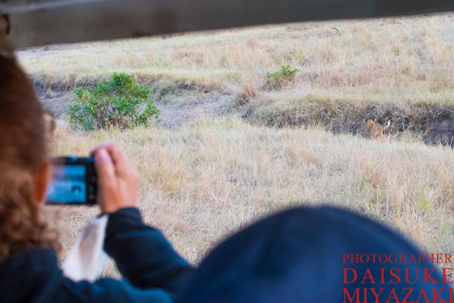 ライオンを撮影する観光客のデジカメ