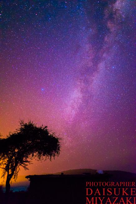 マサイ村の木と星空
