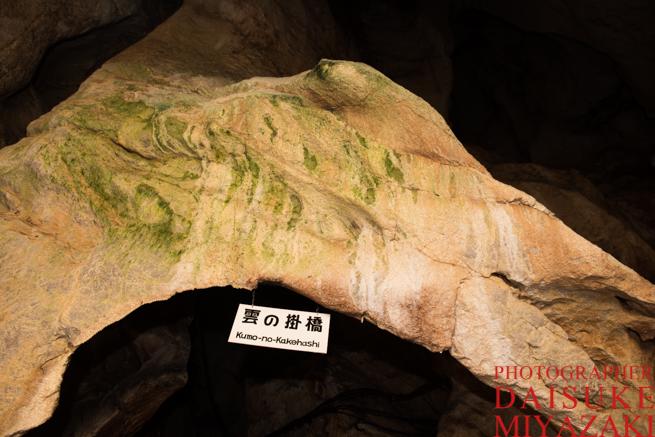 龍河洞の看板と鍾乳石