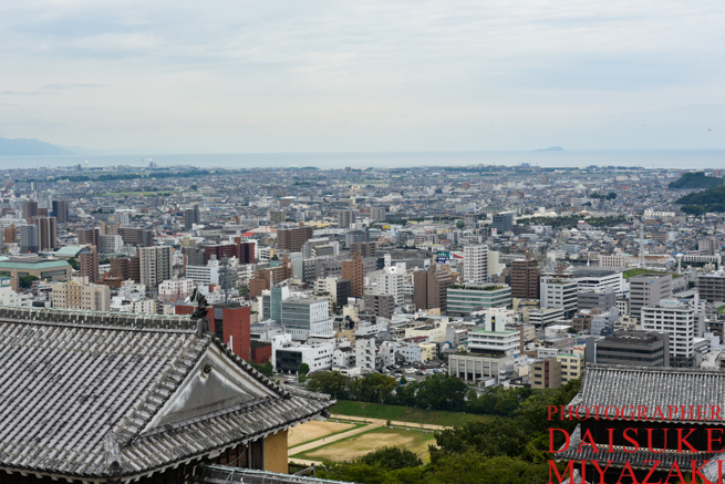 松山城の天守閣からの眺め