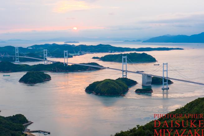 しまなみ海道の夕陽