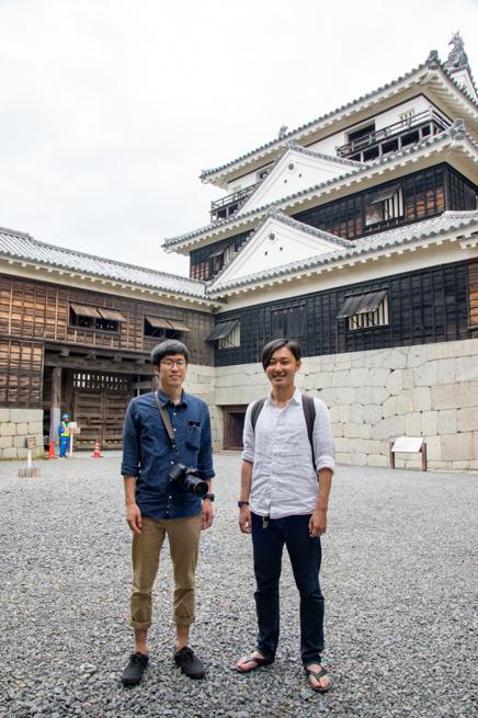 松山城でツーショット